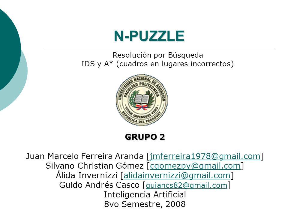 N-PUZZLEResolución por Búsqueda. IDS y A* (cuadros en lugares incorrectos) GRUPO 2. Juan Marcelo Ferreira Aranda [jmferreira1978@gmail.com]